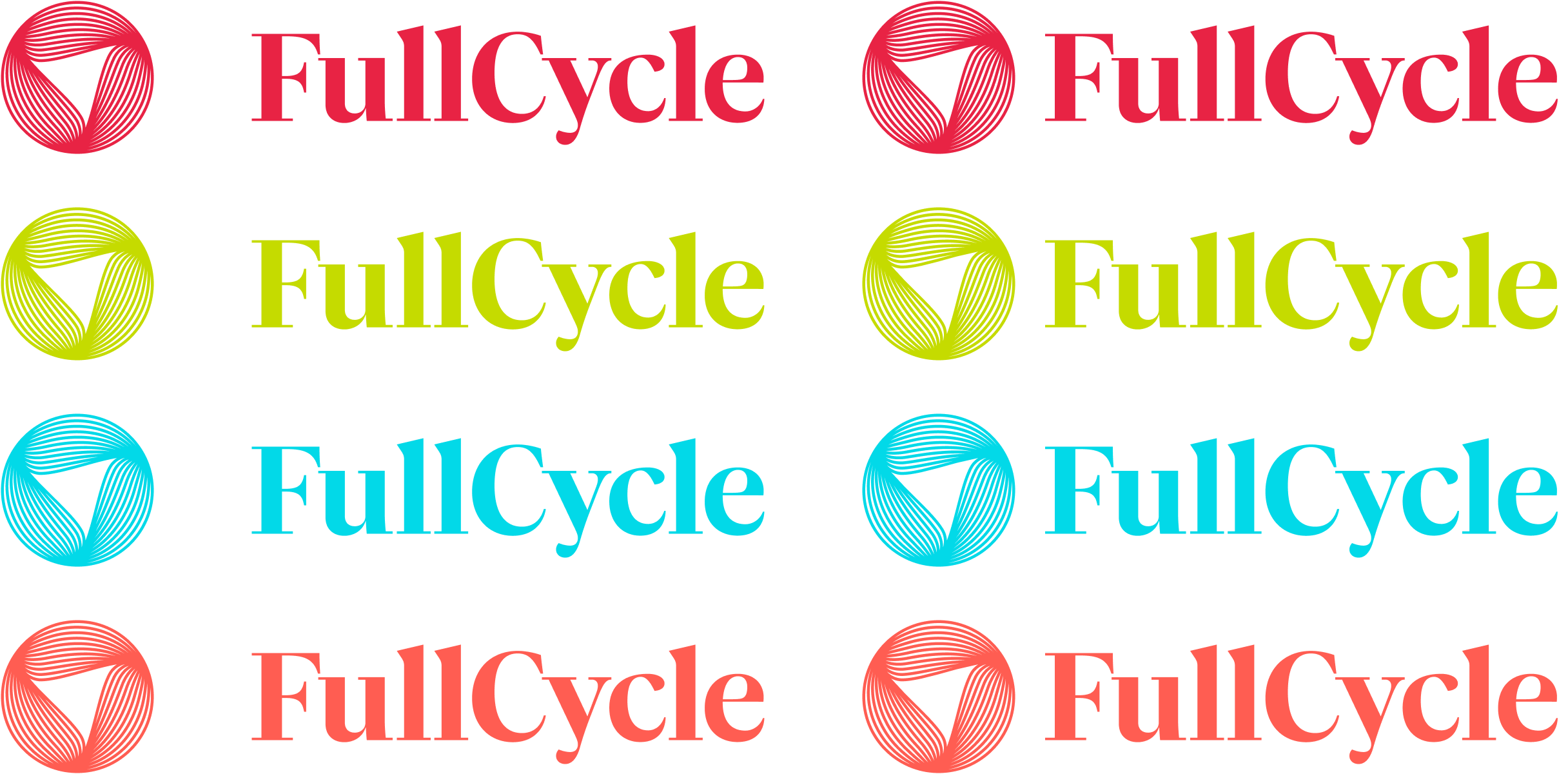 FullCycle logo, wordmark, and lockups in a variety of fruity colors.