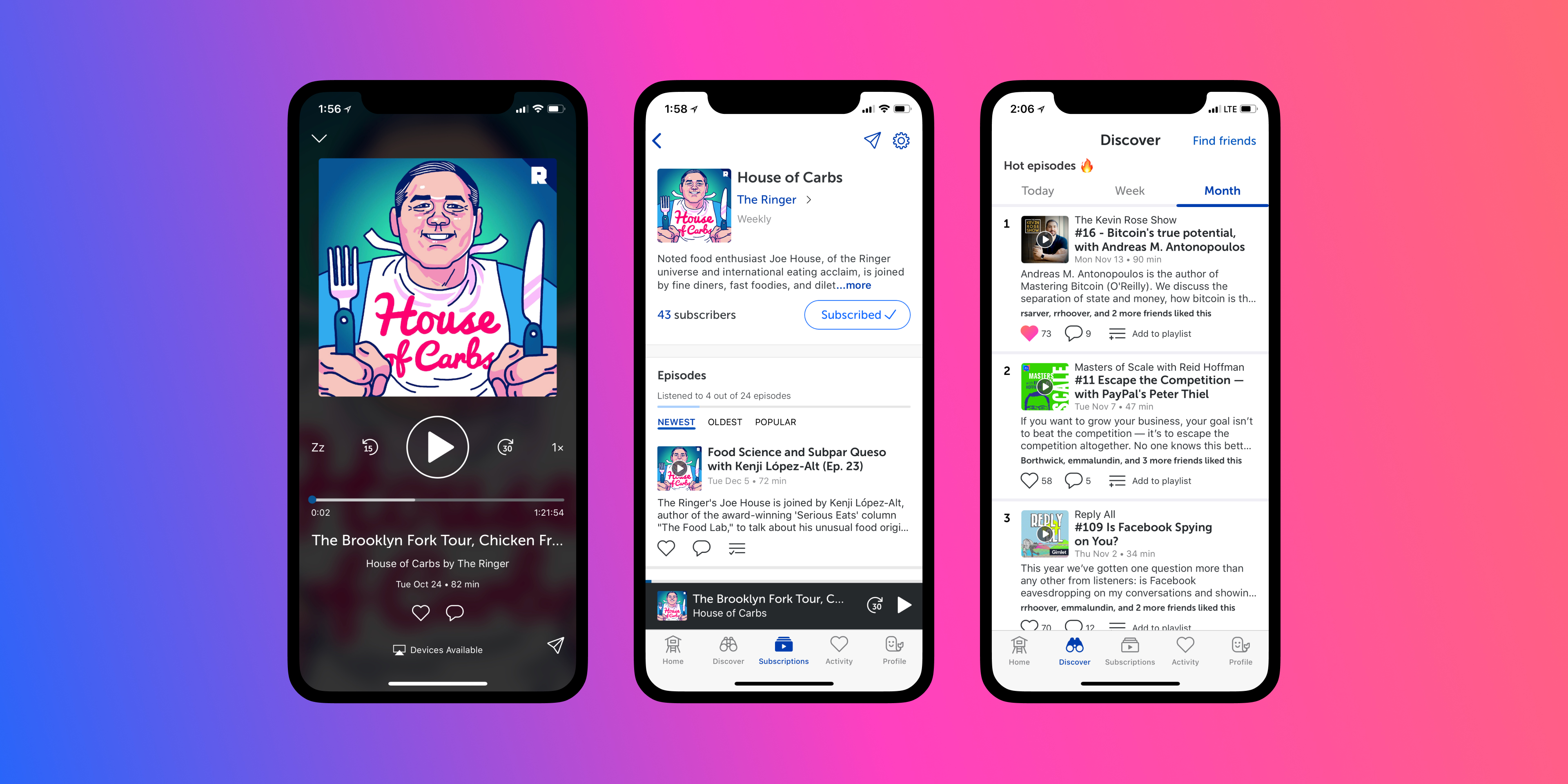 Sample screens from the Breaker app
