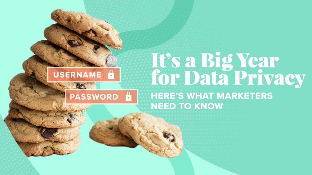 "A stack of cookies with ""Username"" and ""Password"" overlayed. Next to the cookies are the title ""It's aIt's A Big Year for Data Privacy—Here's What Marketers Need to Know"""