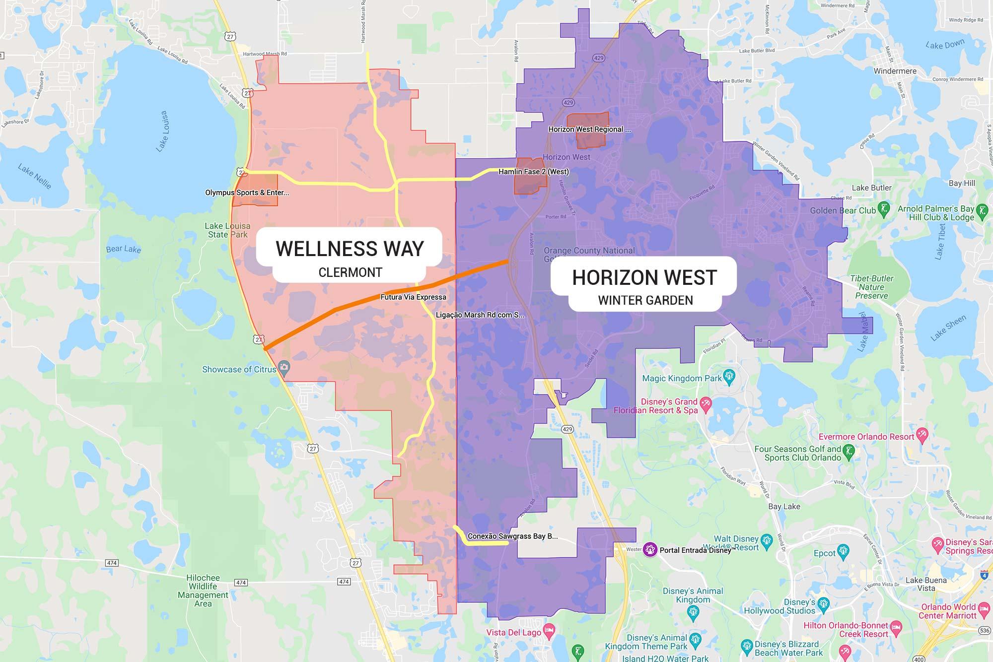 Mapa comparando as áreas de Horizon West em Winter Garden com Wellness Way em Clermont.