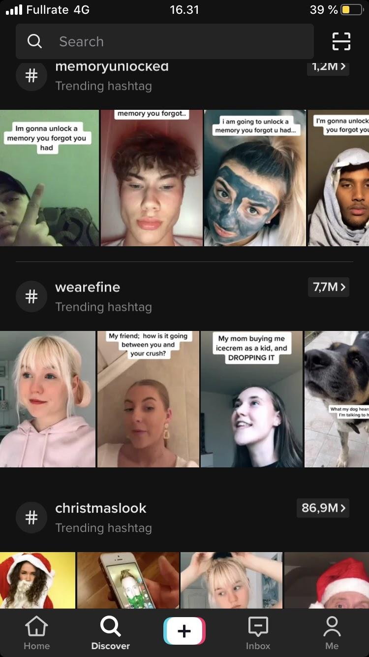 Tik tok videos features faces