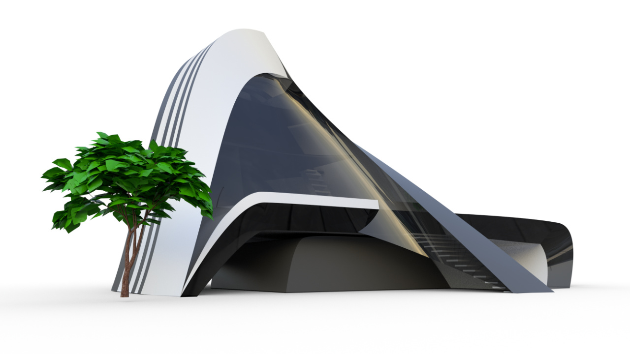 Futuristic house modeled in flyingshapes