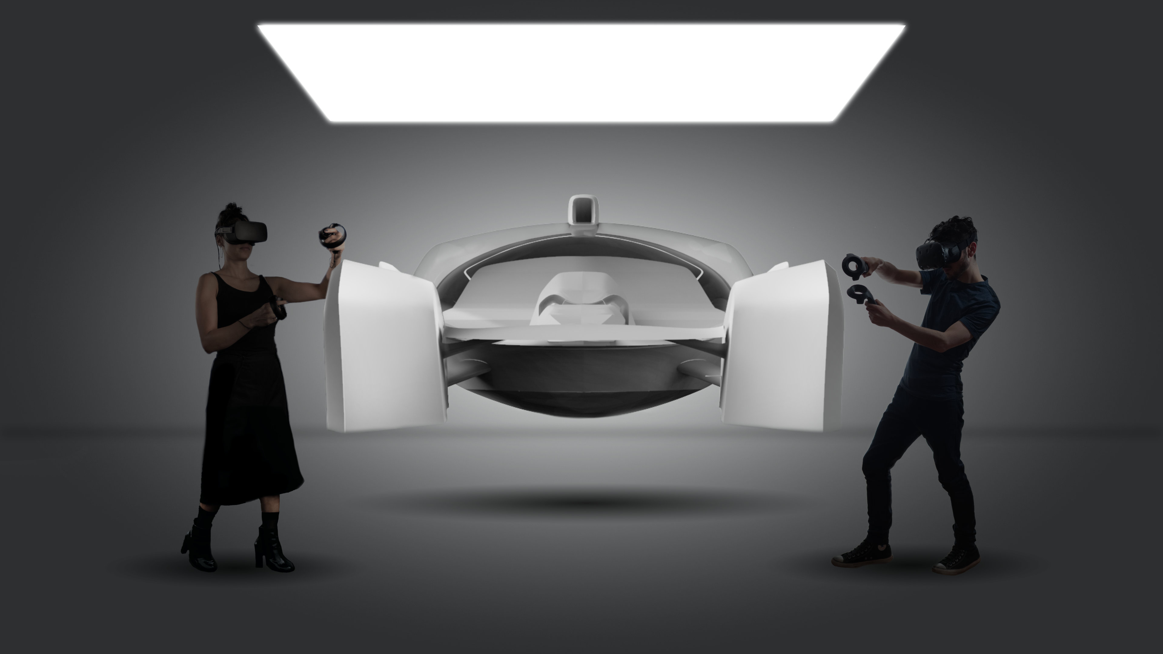 Two people working in VR on a car modeled in flyingshapes