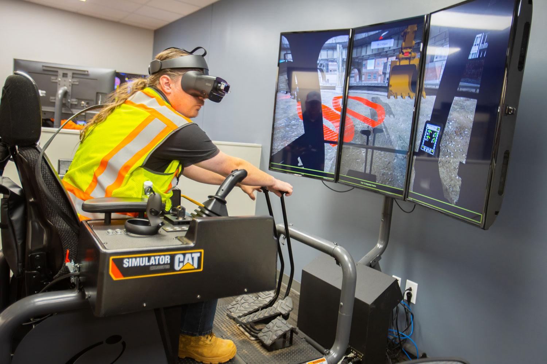 A man using VR Simulator Training Equipment