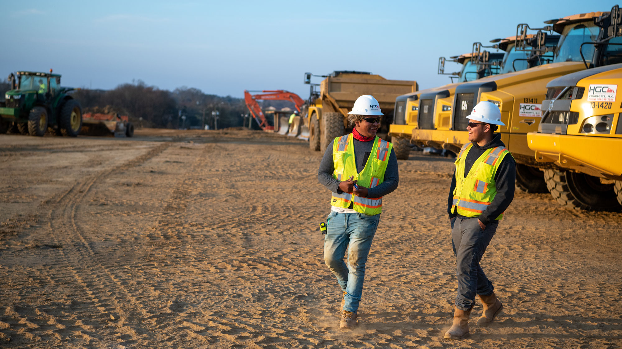 Two project team members walking and talking