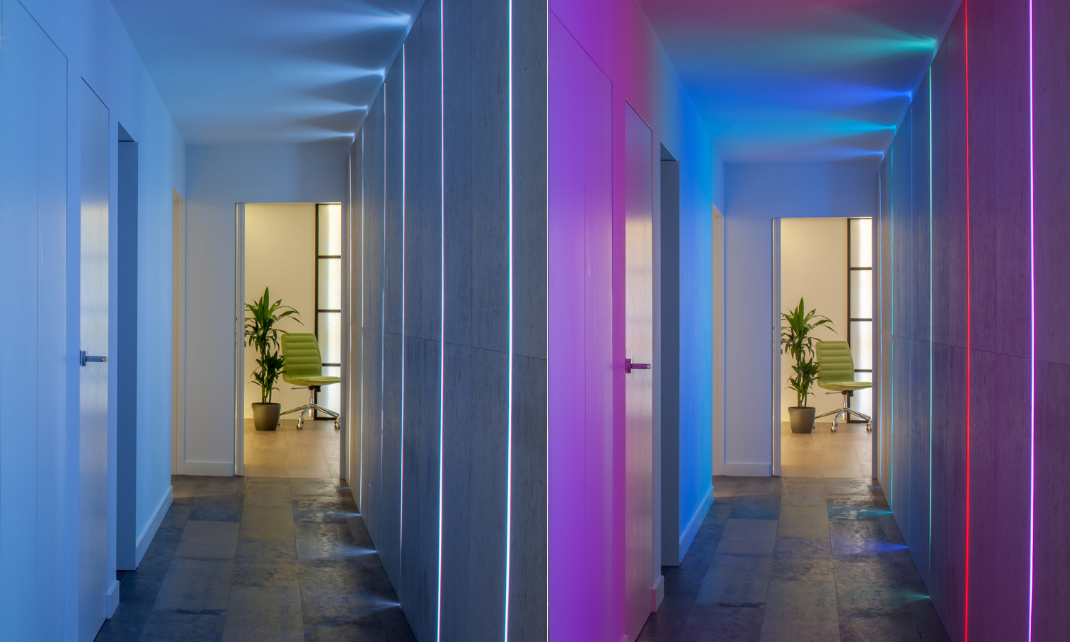 Hallway lit with colour change LEDs, Camden NW1