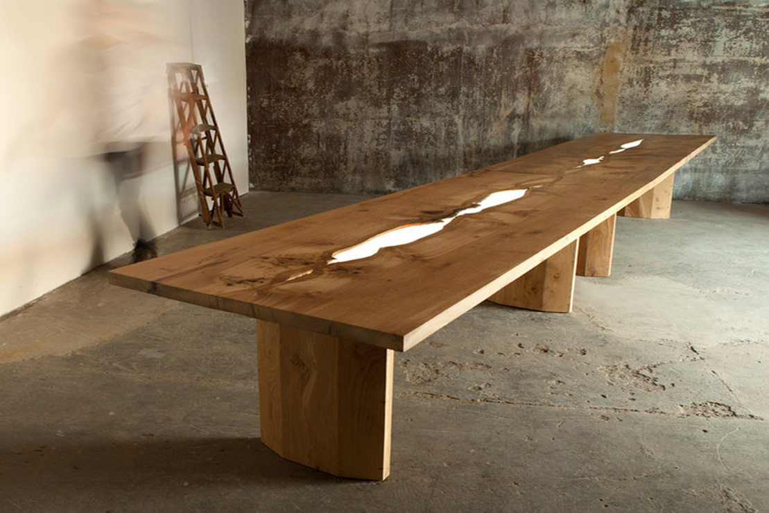 Bespoke illuminated dining table by Jonathan Field & LBD