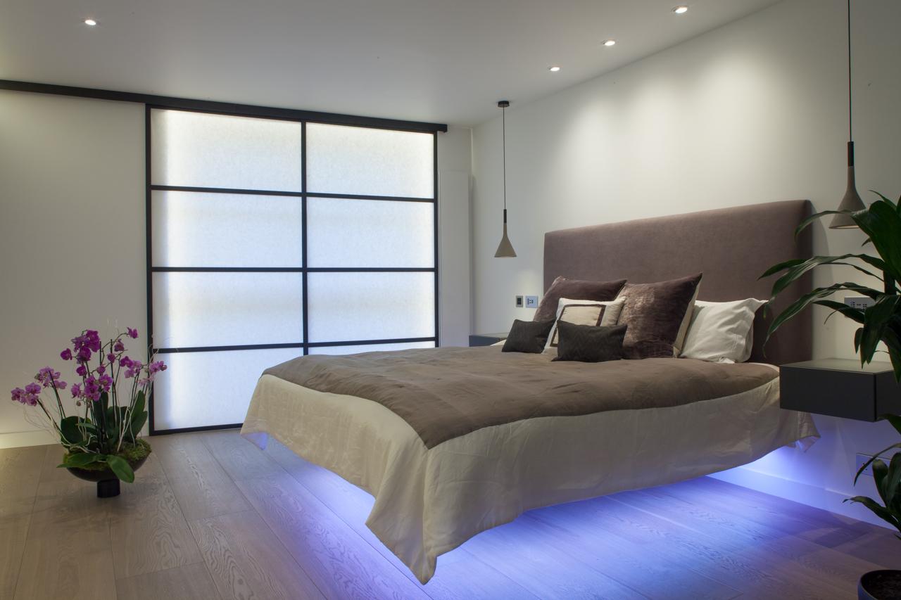 Illuminated floating bed, Camden apartment