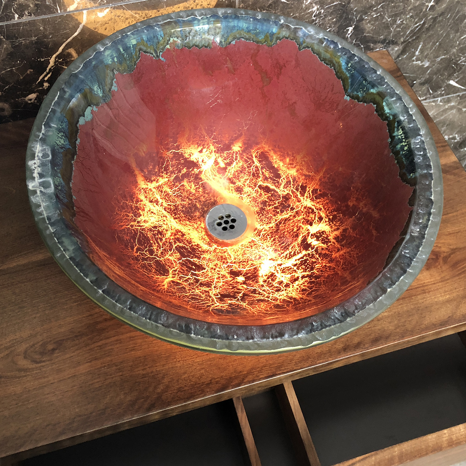bespoke illuminated Murano basin