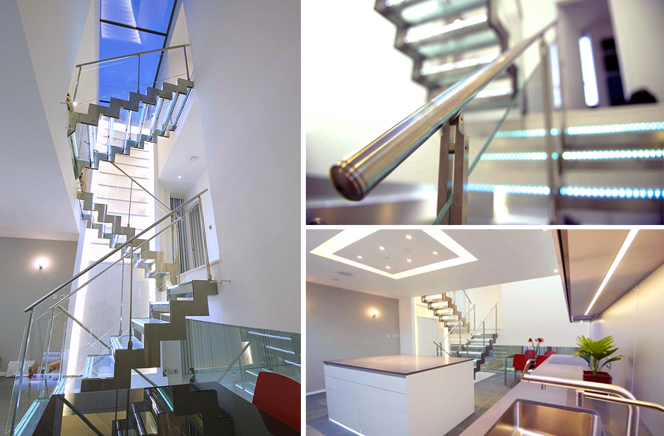 Illuminated glass & steel staircase, Hampstead NW3