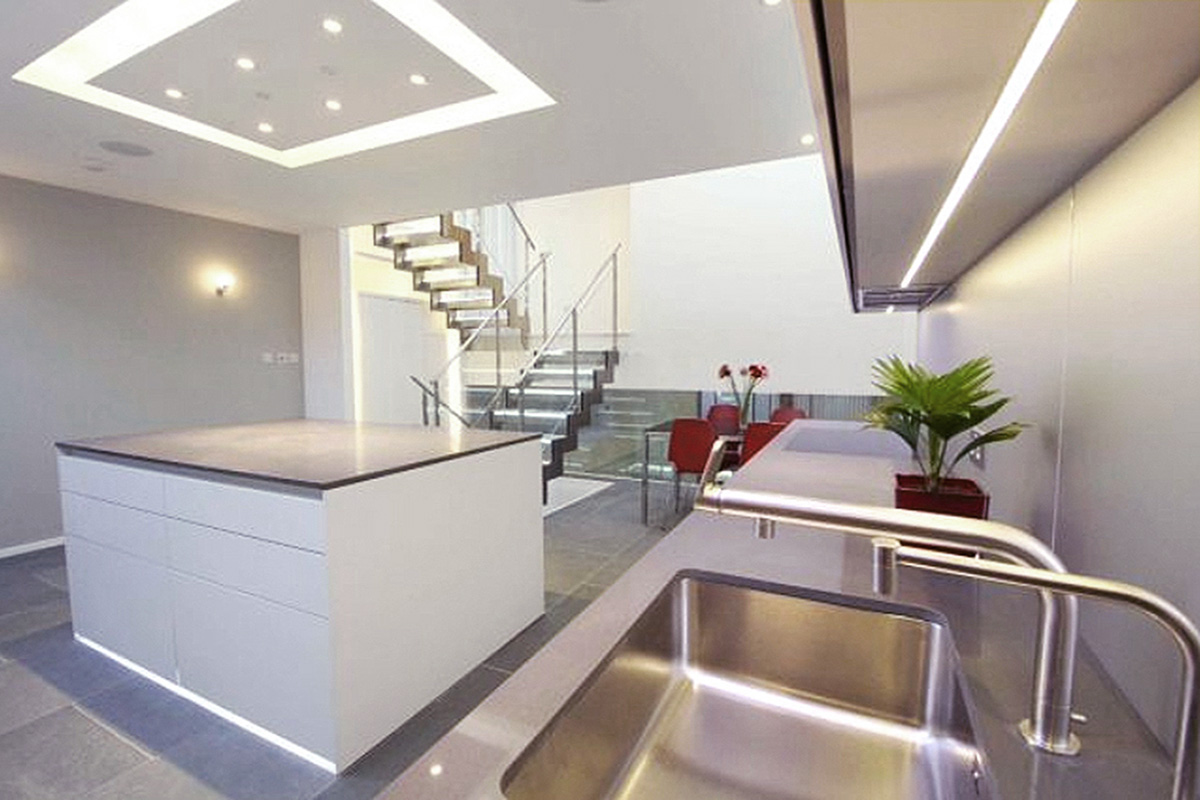 Kitchen Lighting in Eco House, Hampstead NW3
