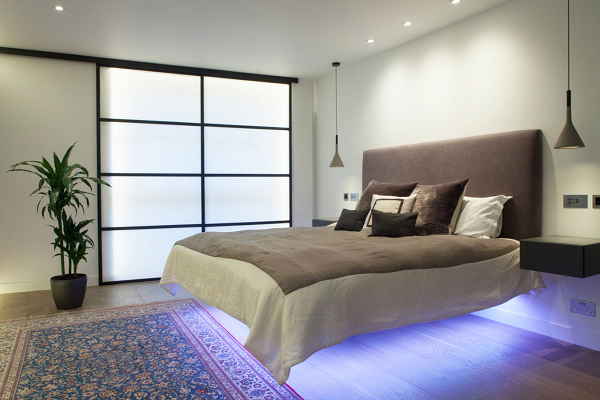 floating bed with led lighting