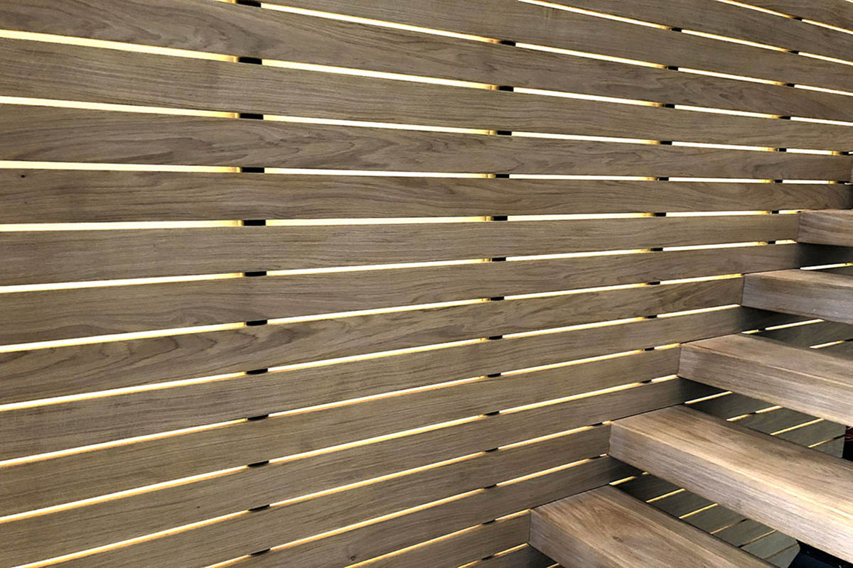 Backlit slats in stairwell, Diss, Norfolk