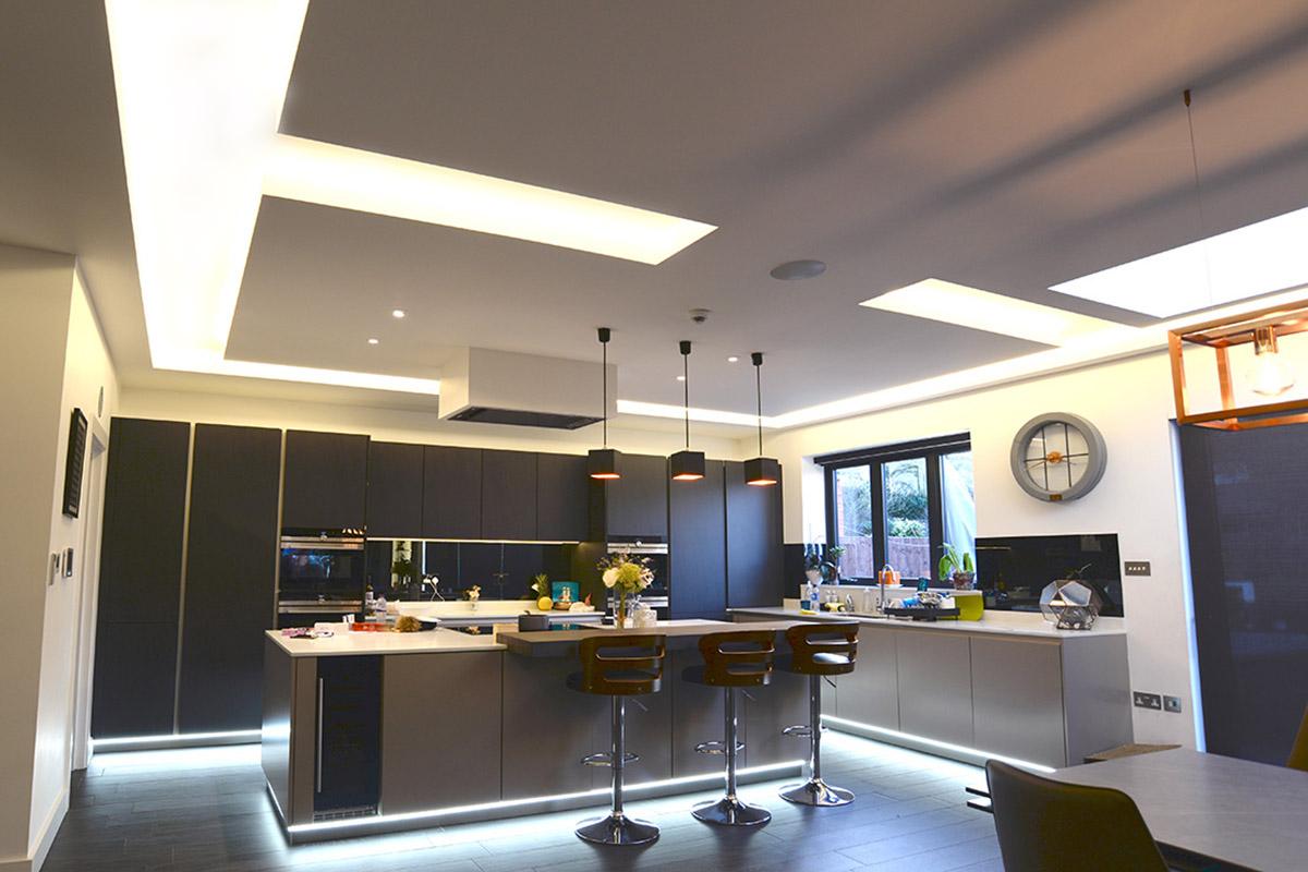 Kitchen lighting coffers, North London