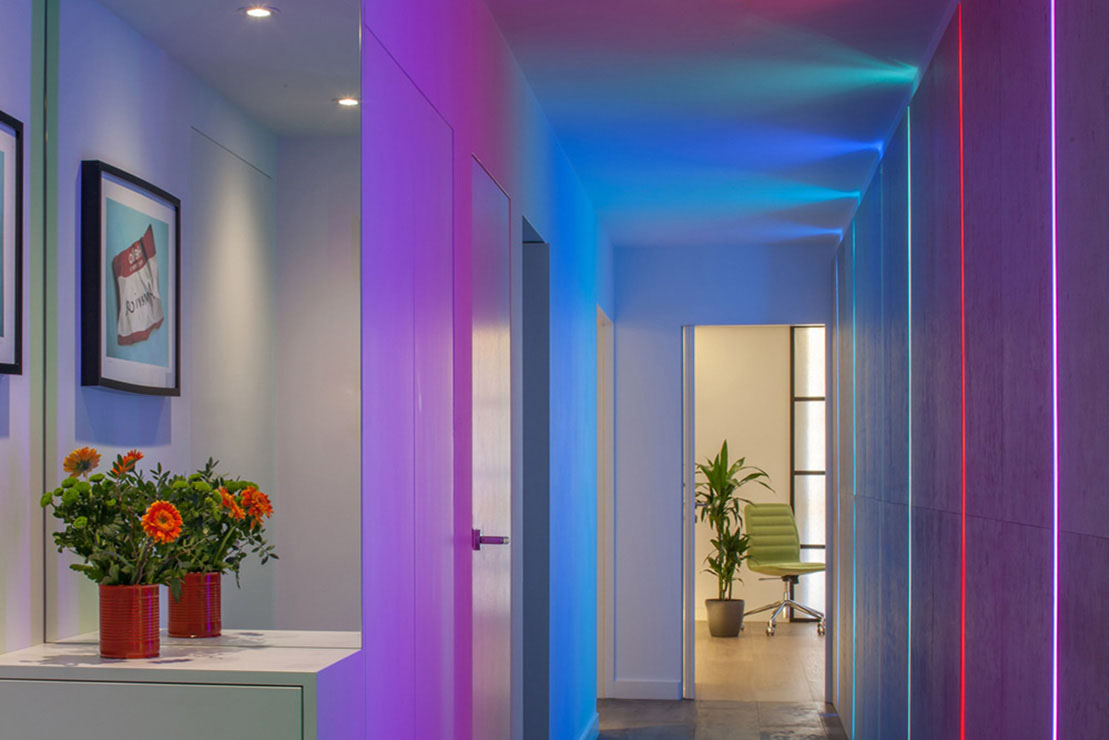 RGB LED Lights in hallway, Camden, London