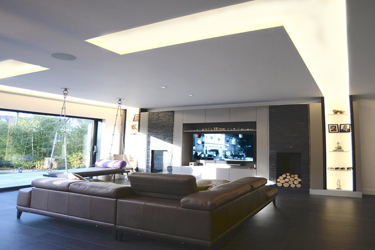 Family room lighting coffers, North London