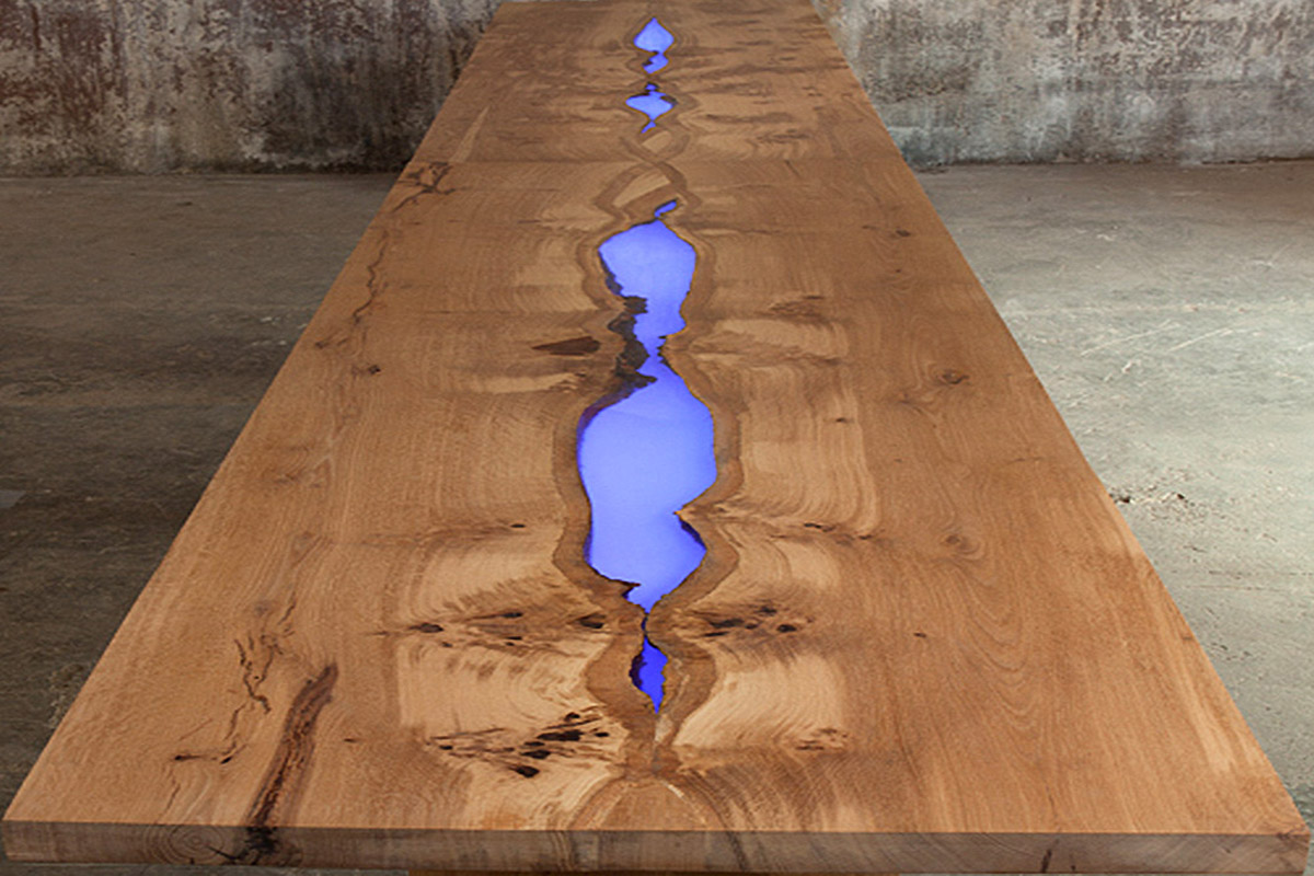 Bespoke illuminated dining table, Mill Hill, London