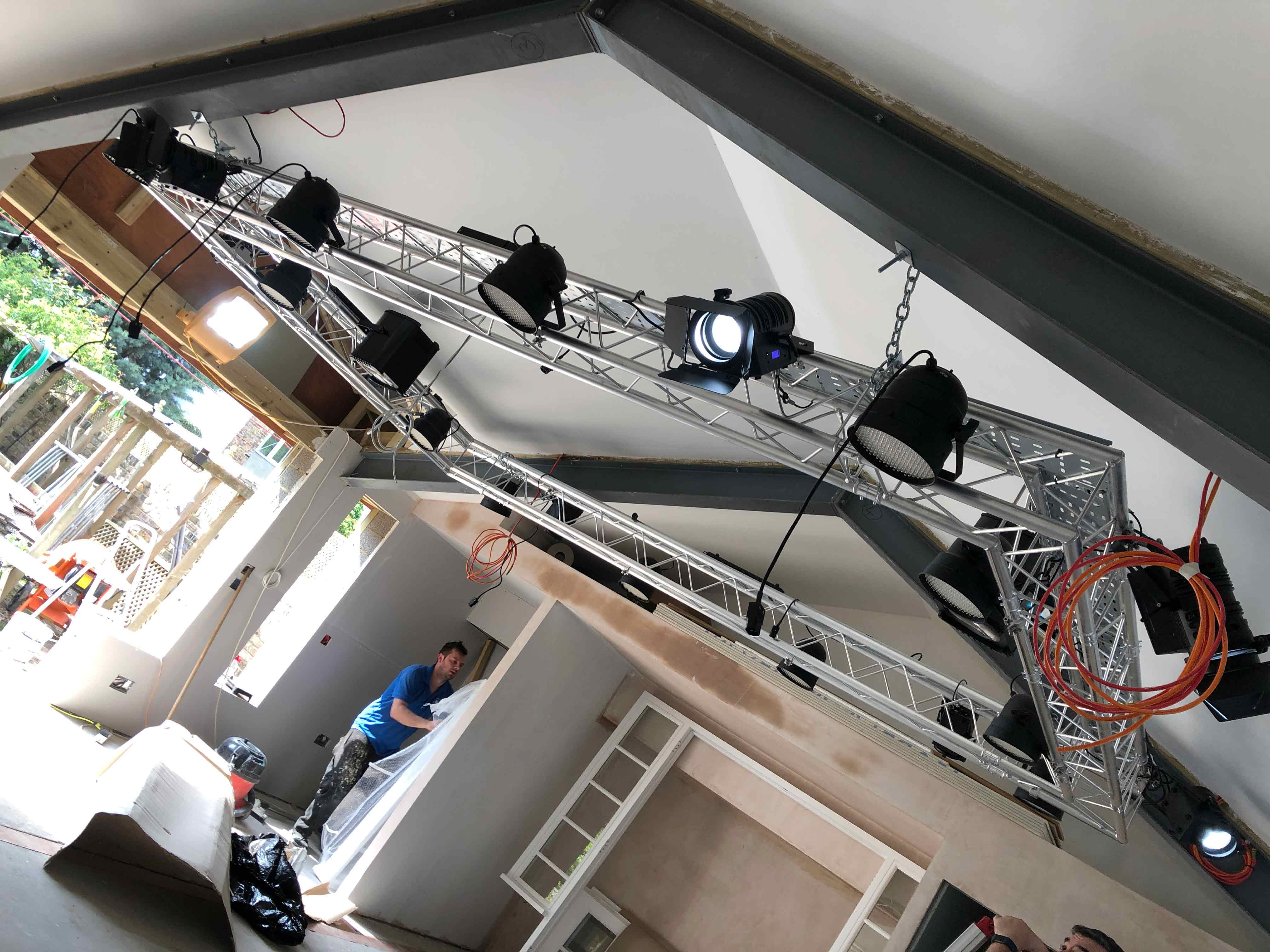 Theatrical lighting rig in party room