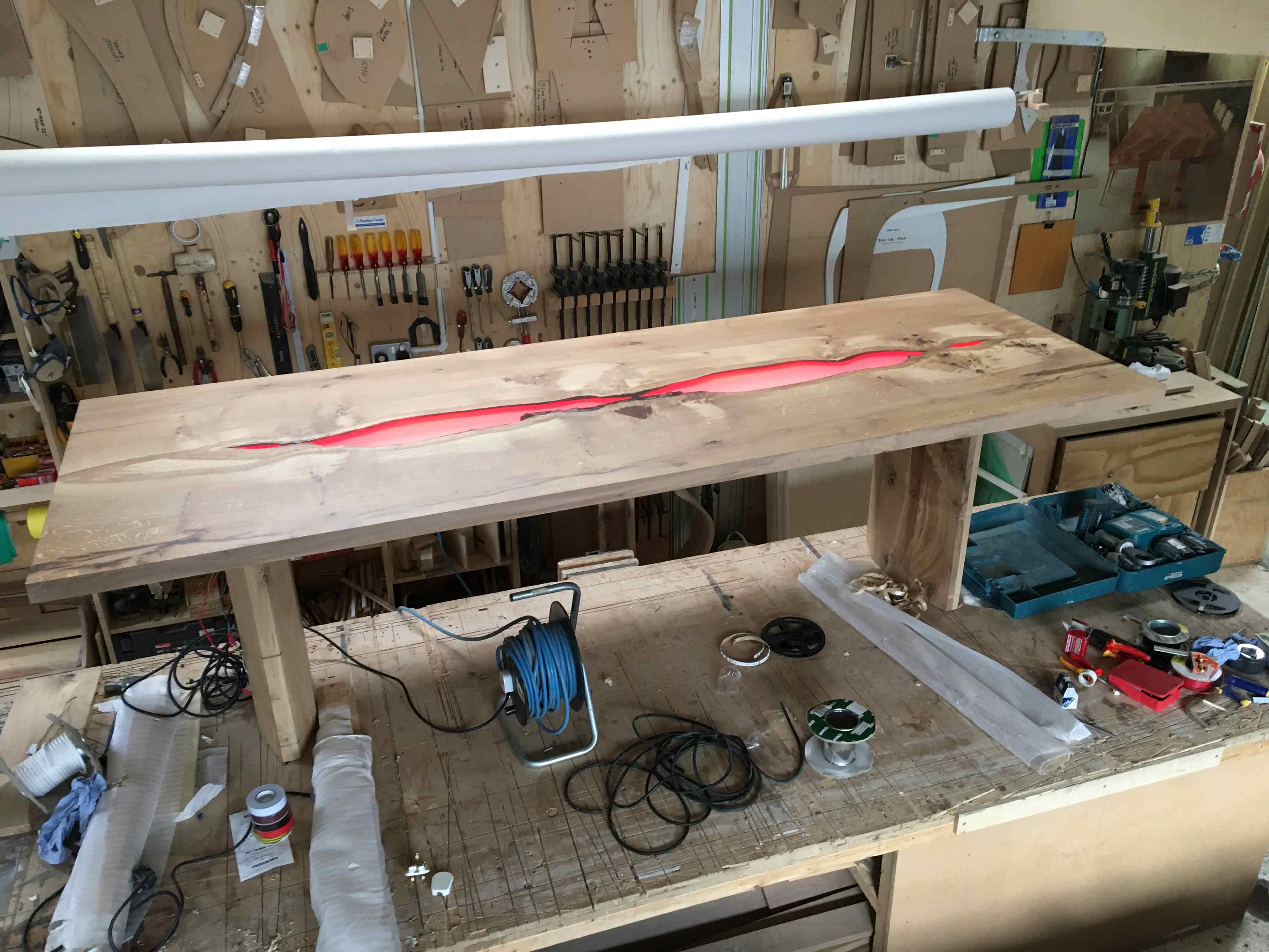 finishing stage of construction of illuminated table