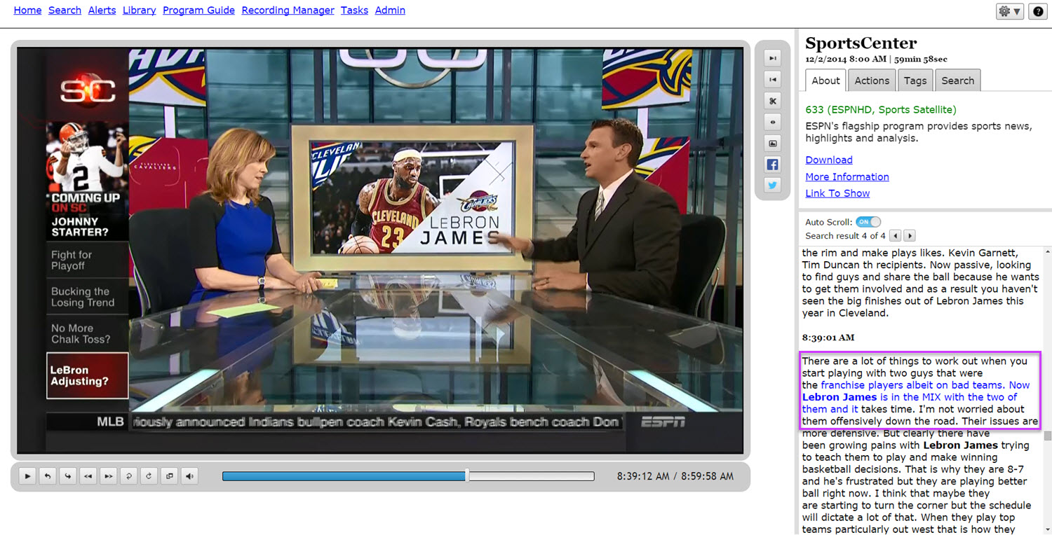 TV search for LeBron James
