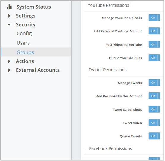 Set permissions for social