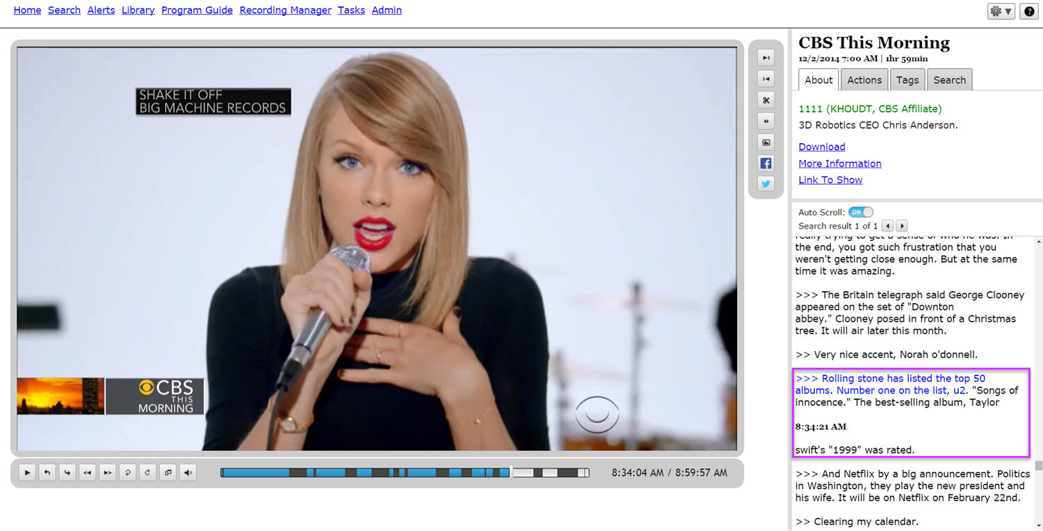 TV search for Taylor Swift