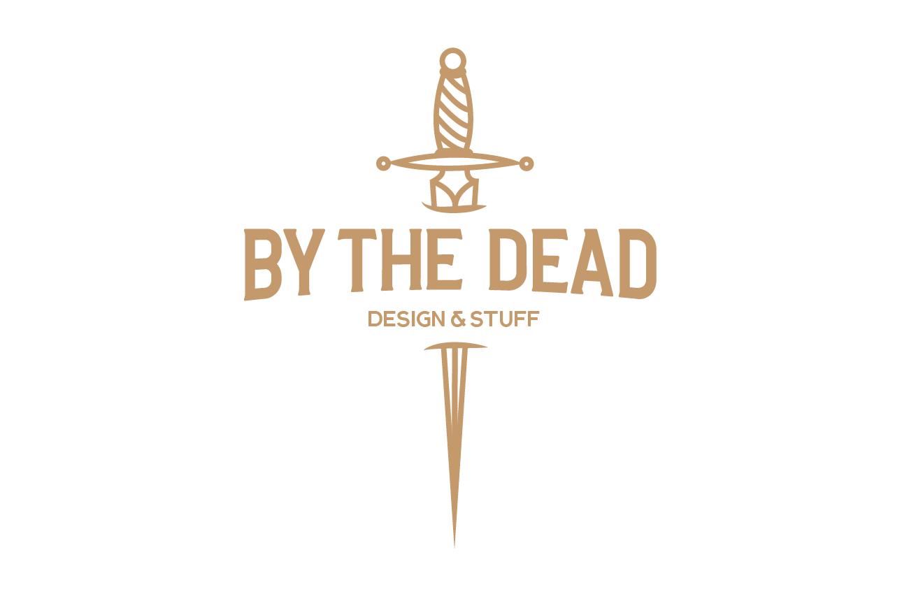 By the Dead logo med sverd, hvit bakgrunn