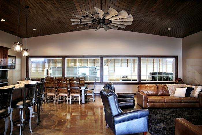 Sams Ranch meeting room overlooking horse arena