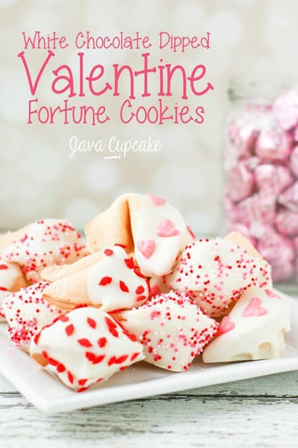 White Chocolate Dipped Valentine's Day Fortune Cookies