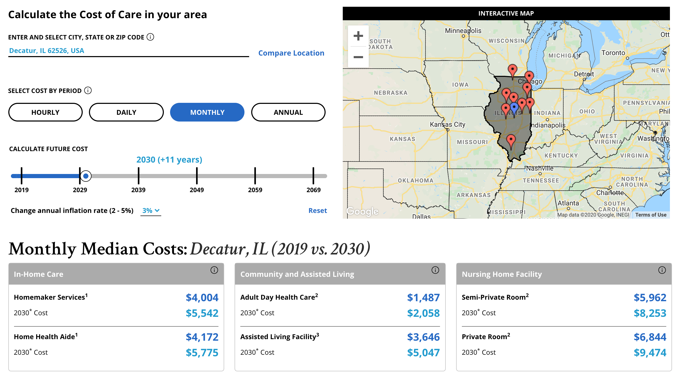 long term care cost in illinois