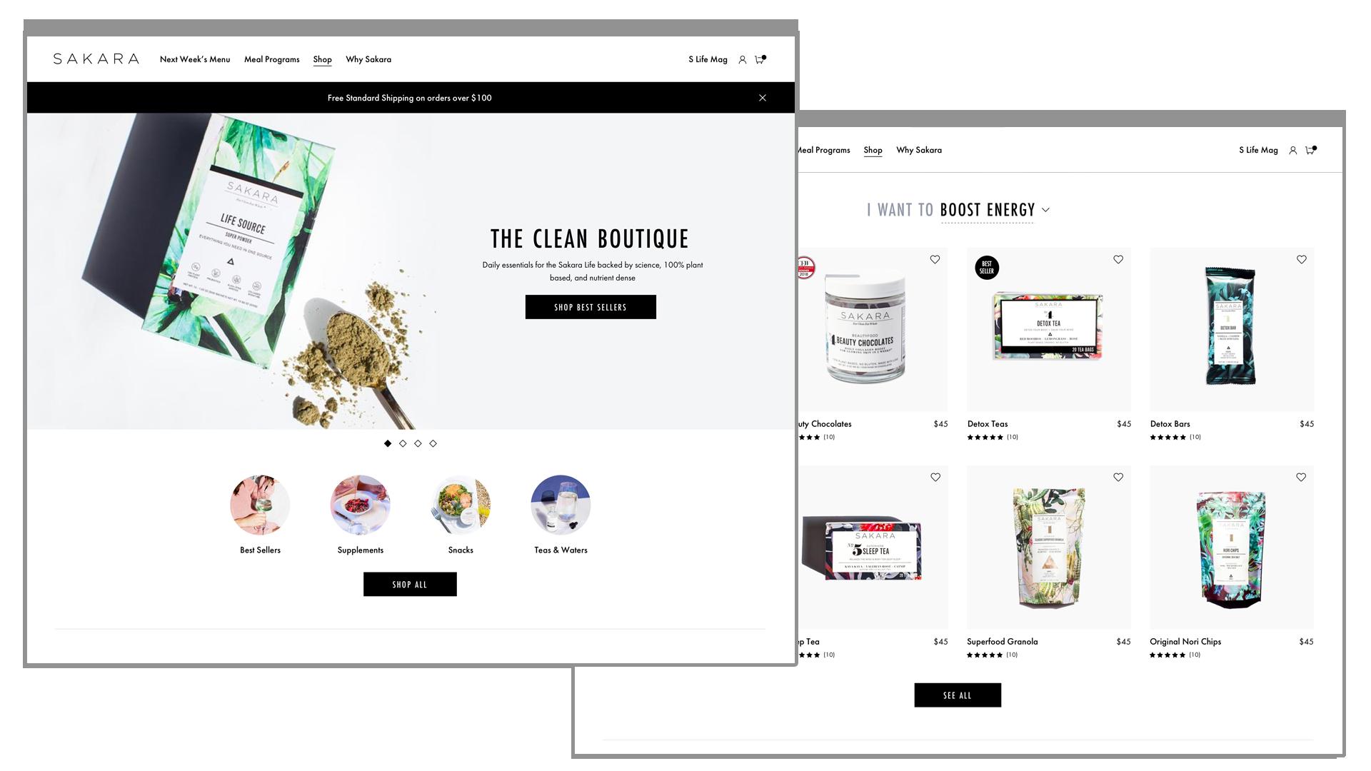 Sakara Life Clean Boutique Landing Page
