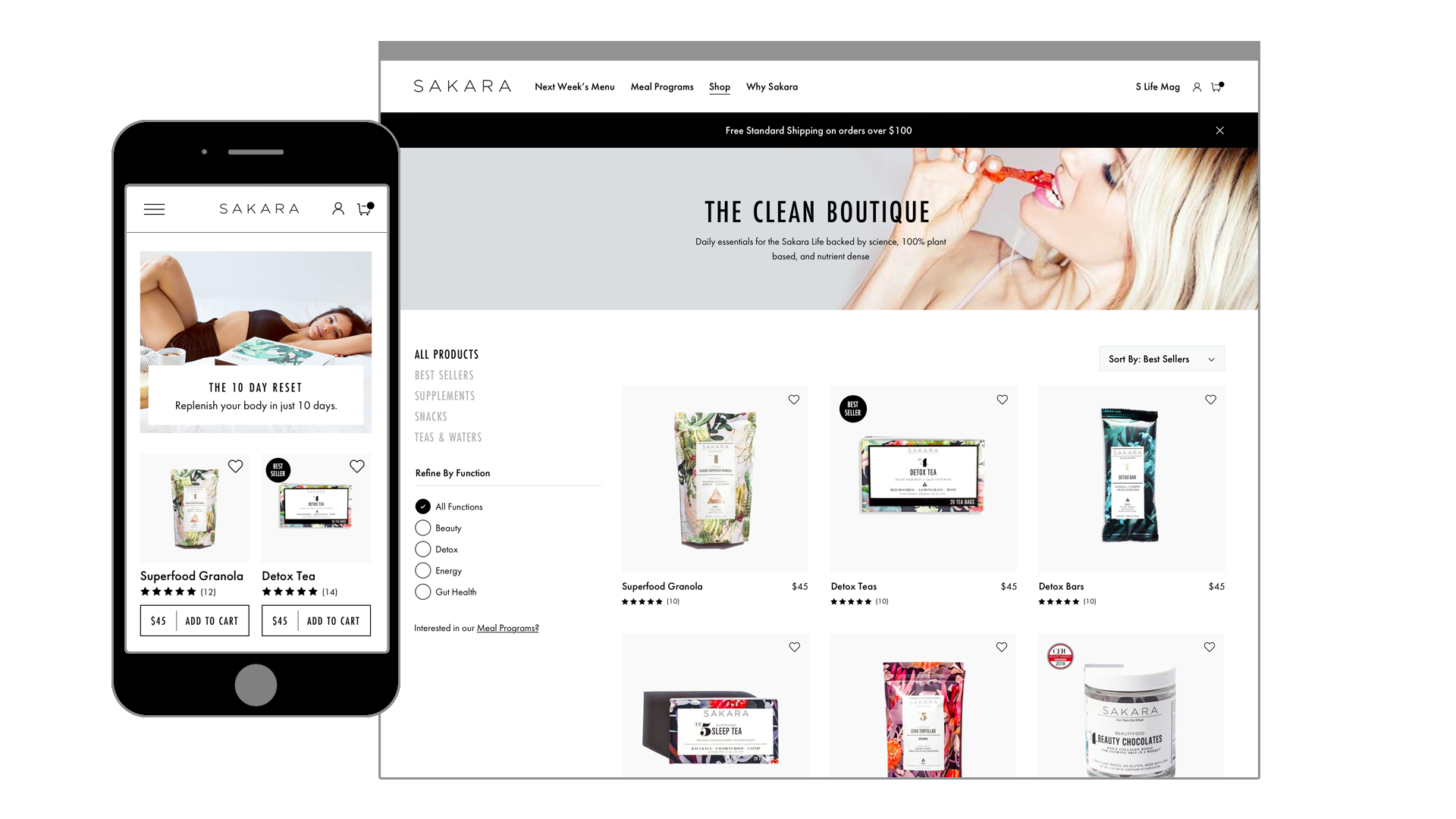 Sakara Life Clean Boutique Product Listing Page Mockup
