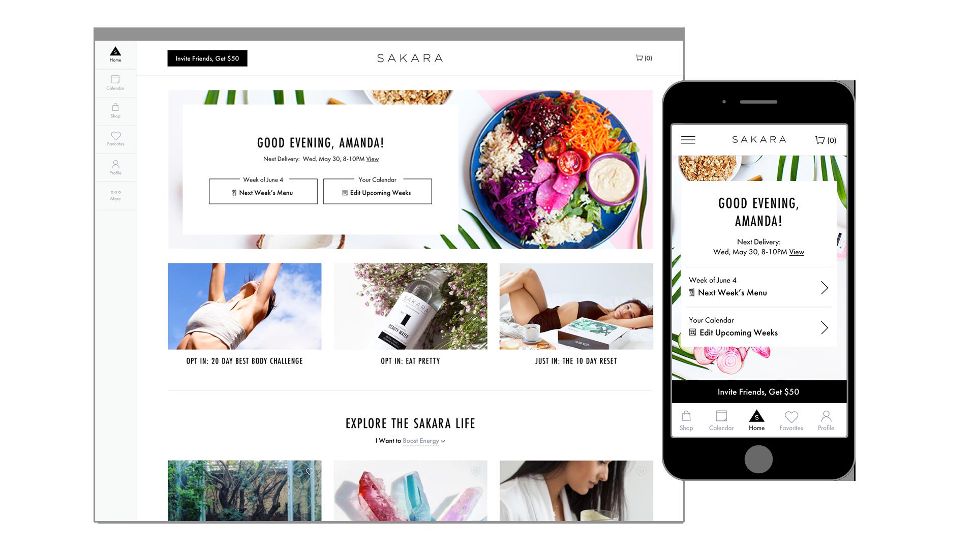 Sakara Life Customer Dashboard Mockup Desktop and Mobile