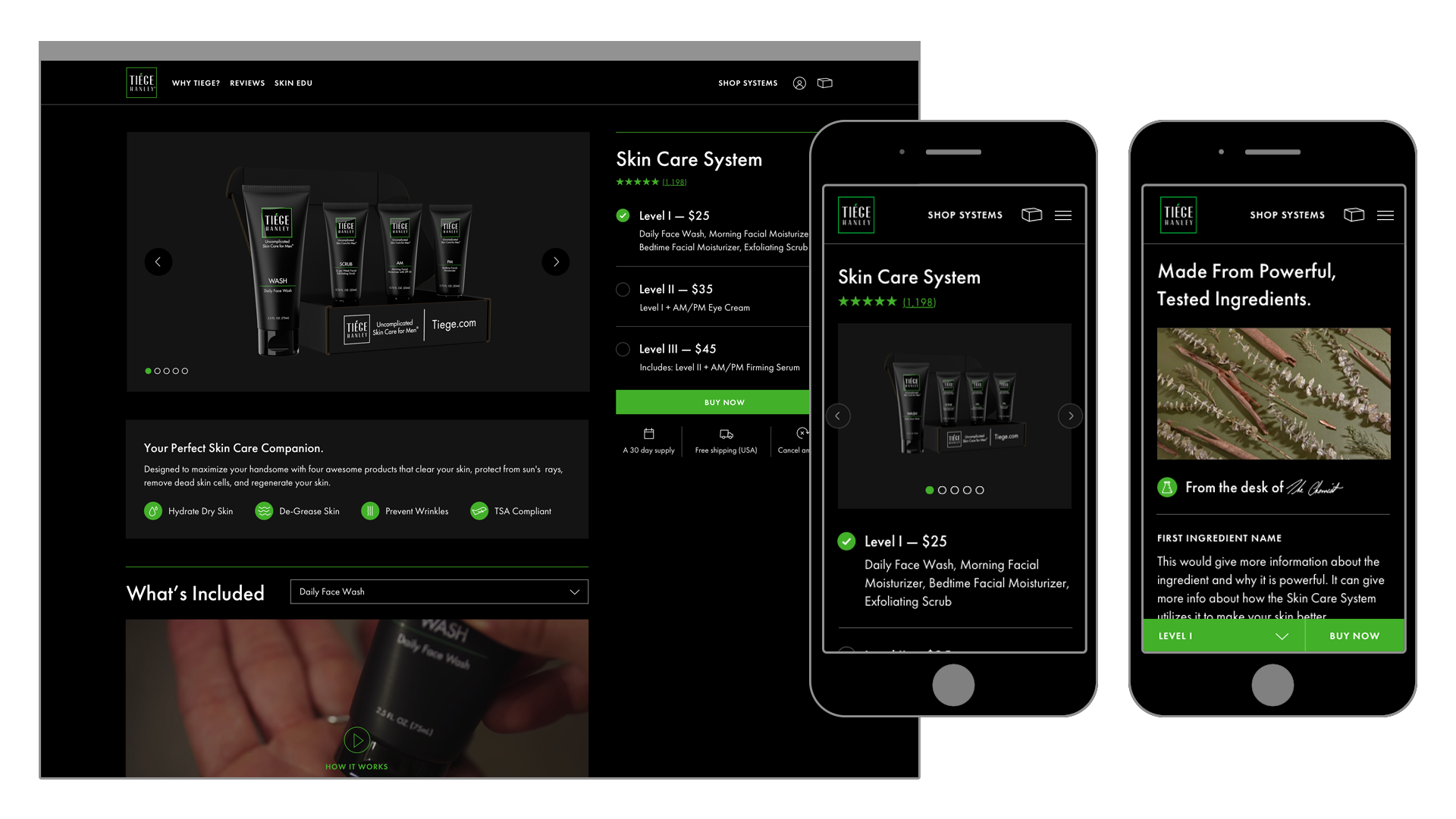 Tiege Hanley Product Detail Page for Skin Care System