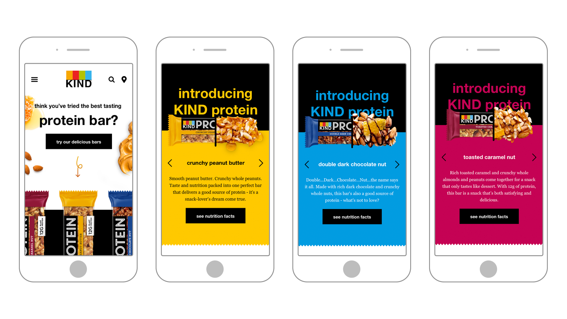 Kind Snacks multiple view of the protein landing page for mobile designs