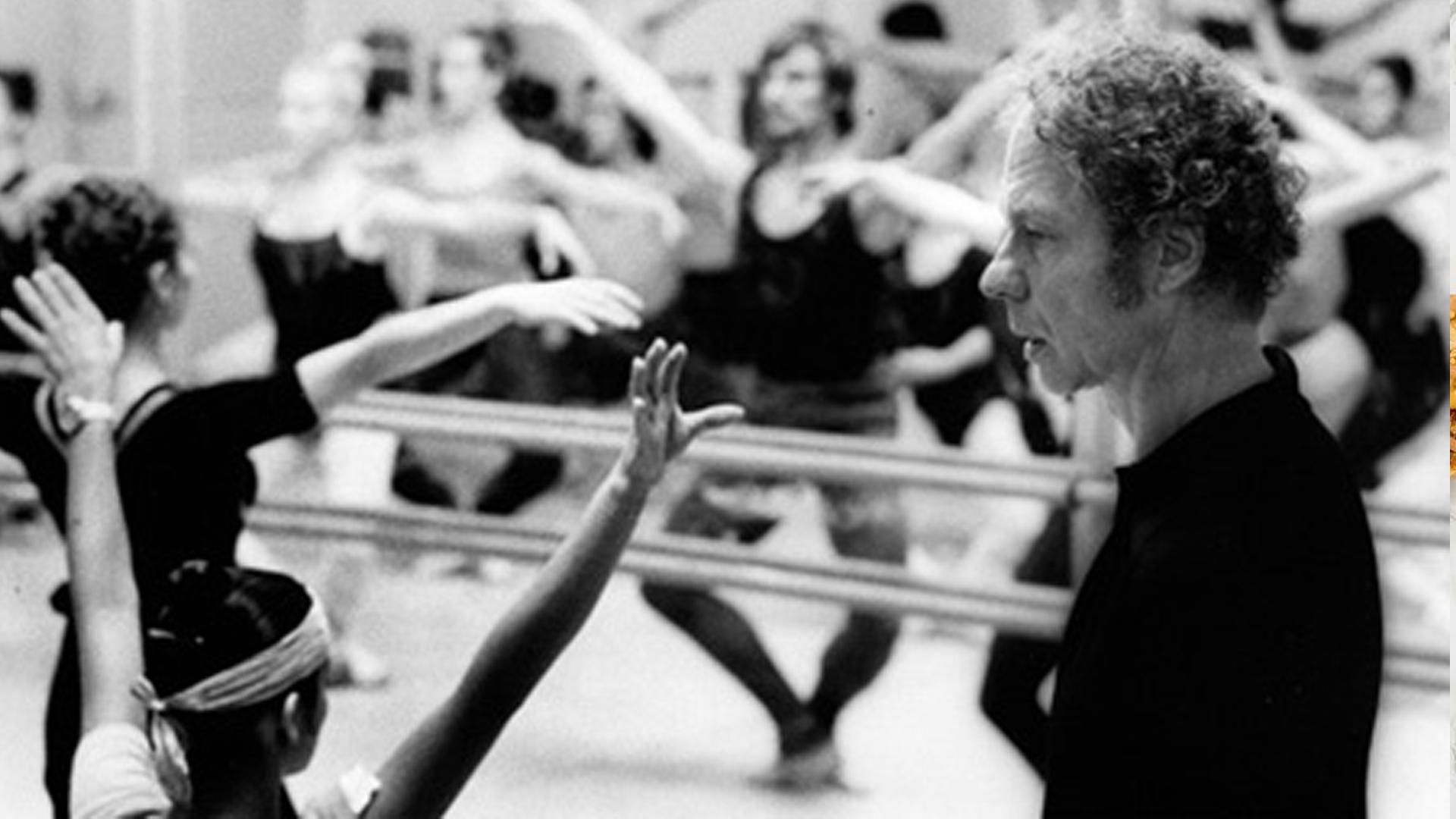 Archival image of Merce Cunningham teaching a dance class