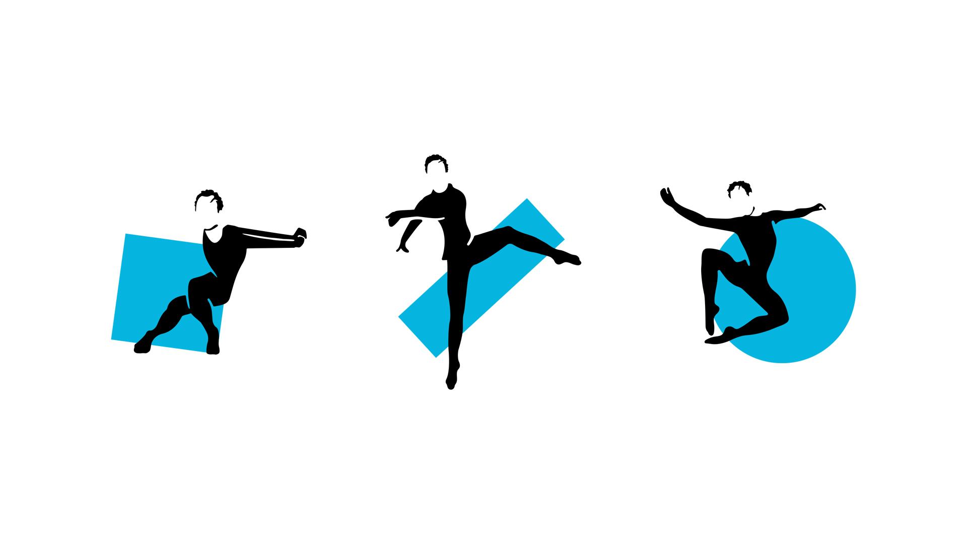 3 different logos designed for the Merce Cunnigham Trust Centennial, vector designs