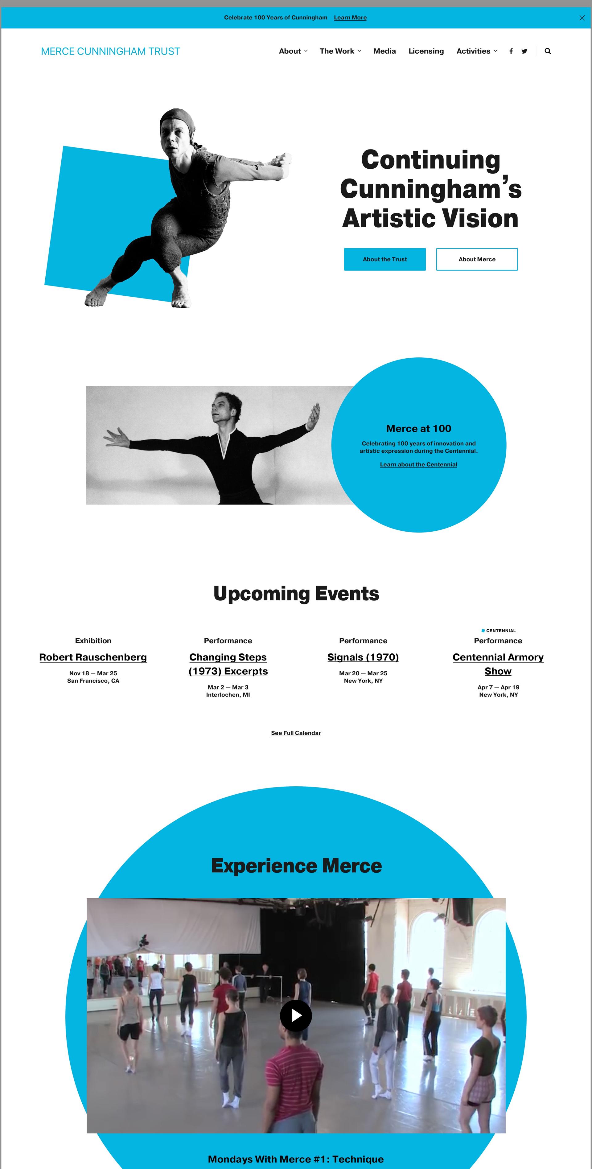 Merce Cunningham Trust Homepage Design Desktop