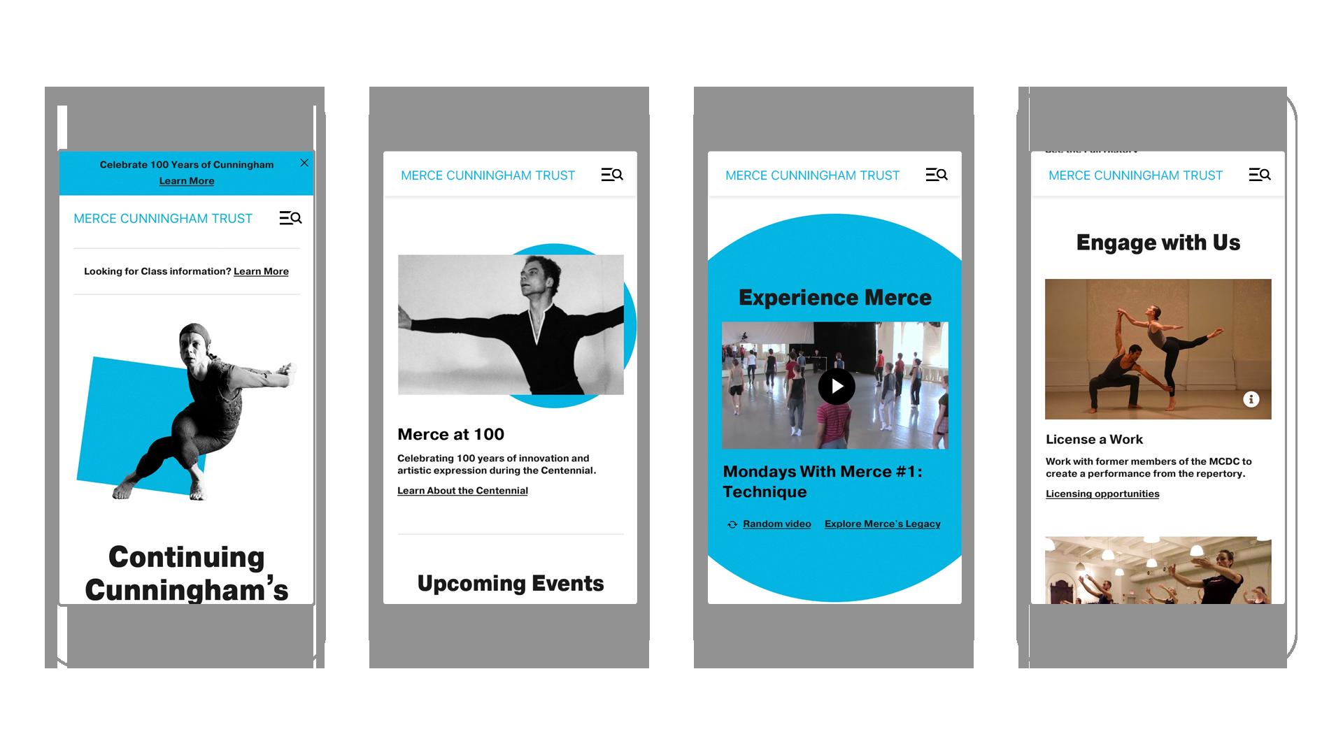 Merce Cunningham Trust Mobile Homepage Mockups