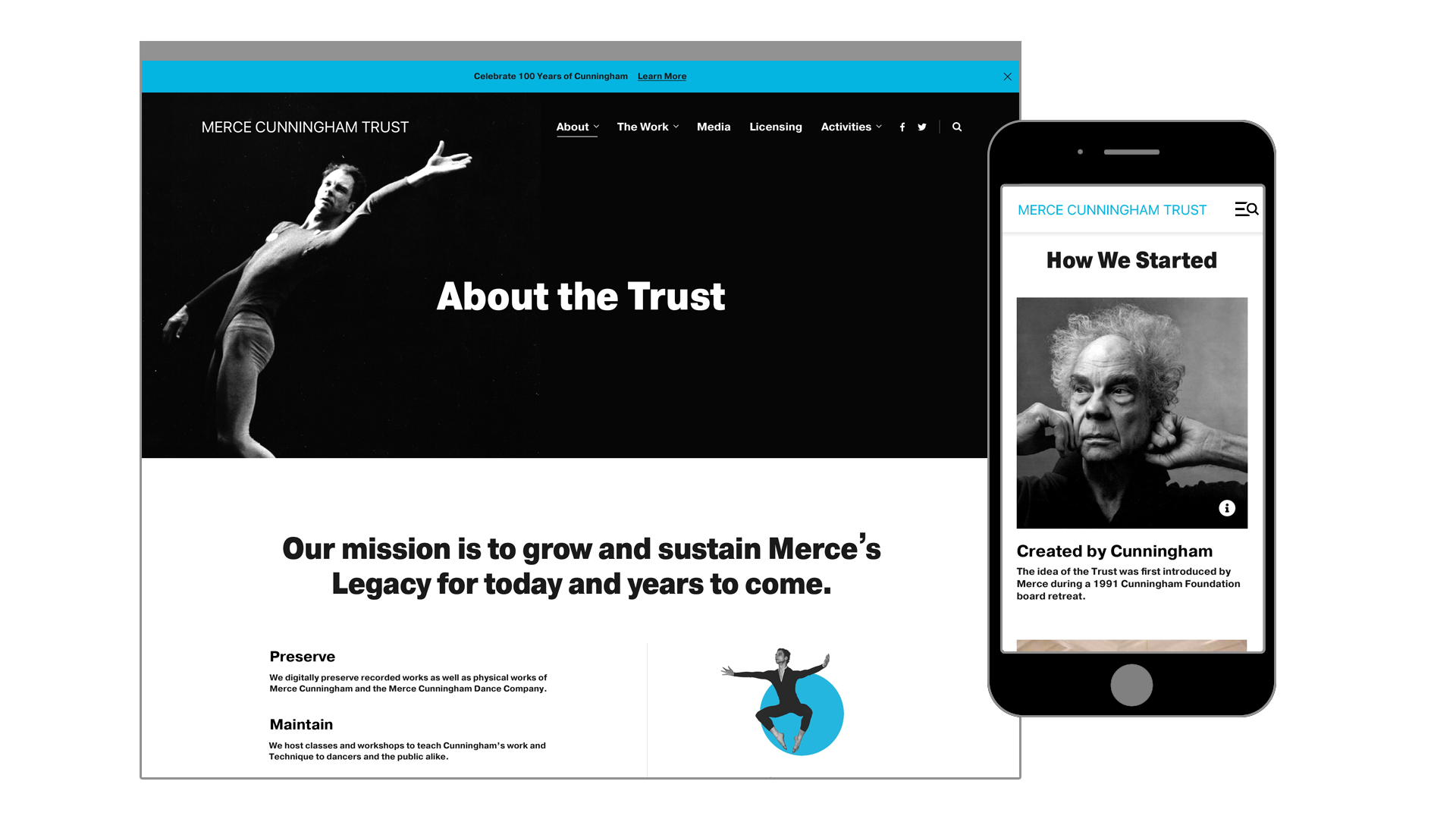 Merce Cunningham Trust About Page Mockups for Desktop and Mobile