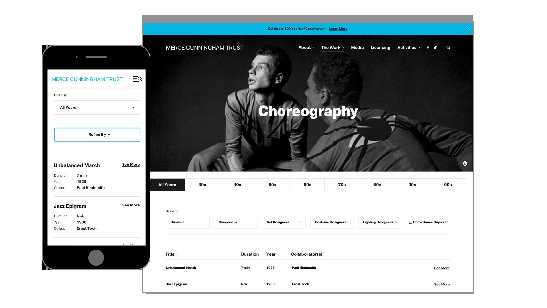 Merce Cunningham Trust Choregraphy Page Design Mockup