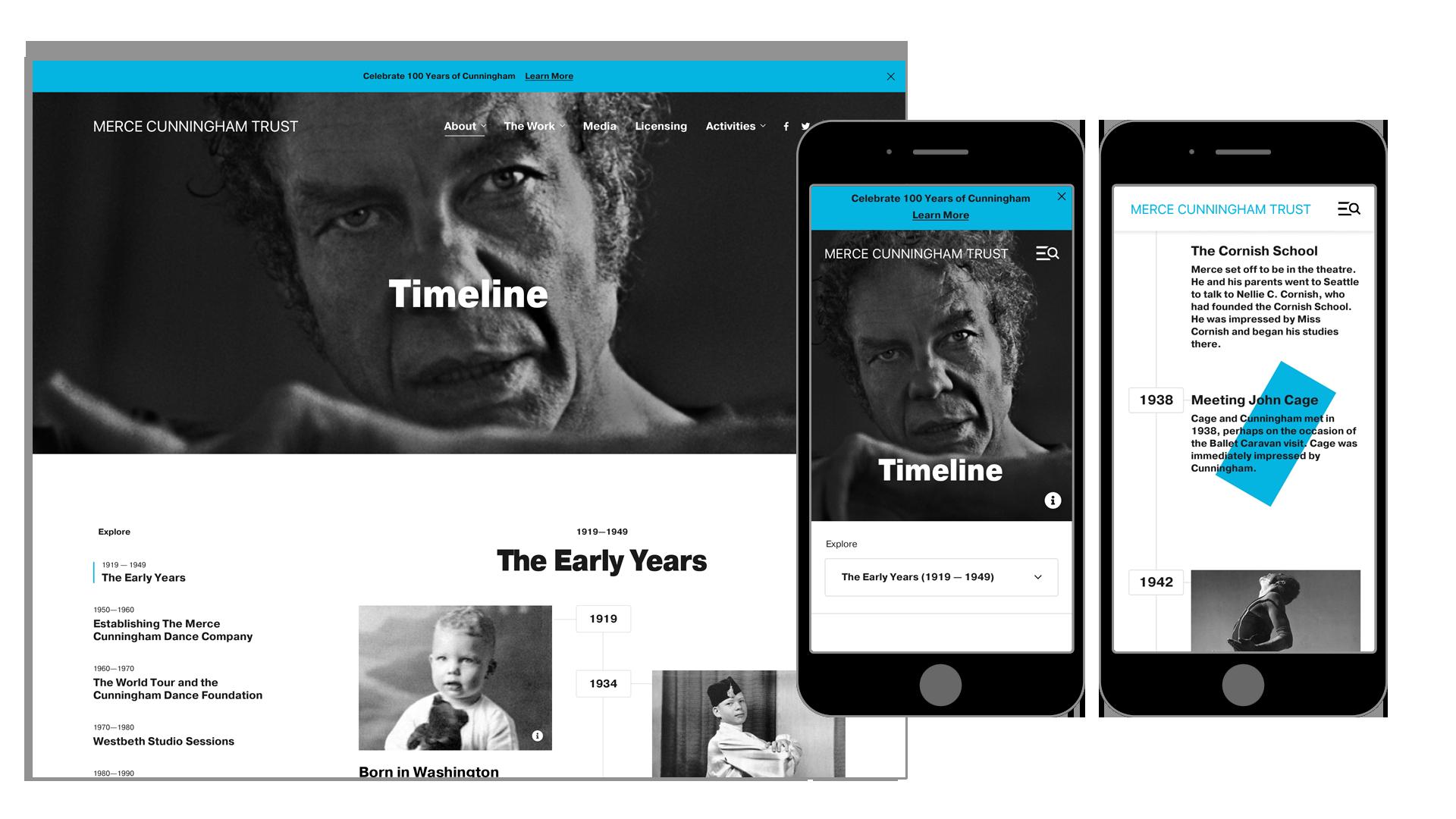 Merce Cunningham Trust Timeline Design for Desktop and Mobile
