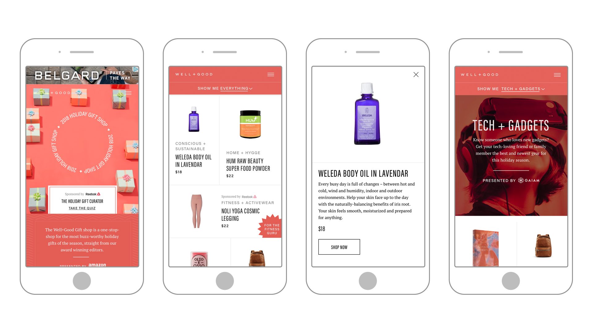Well+Good mobile mockups showing homepage, category page, and product detail information