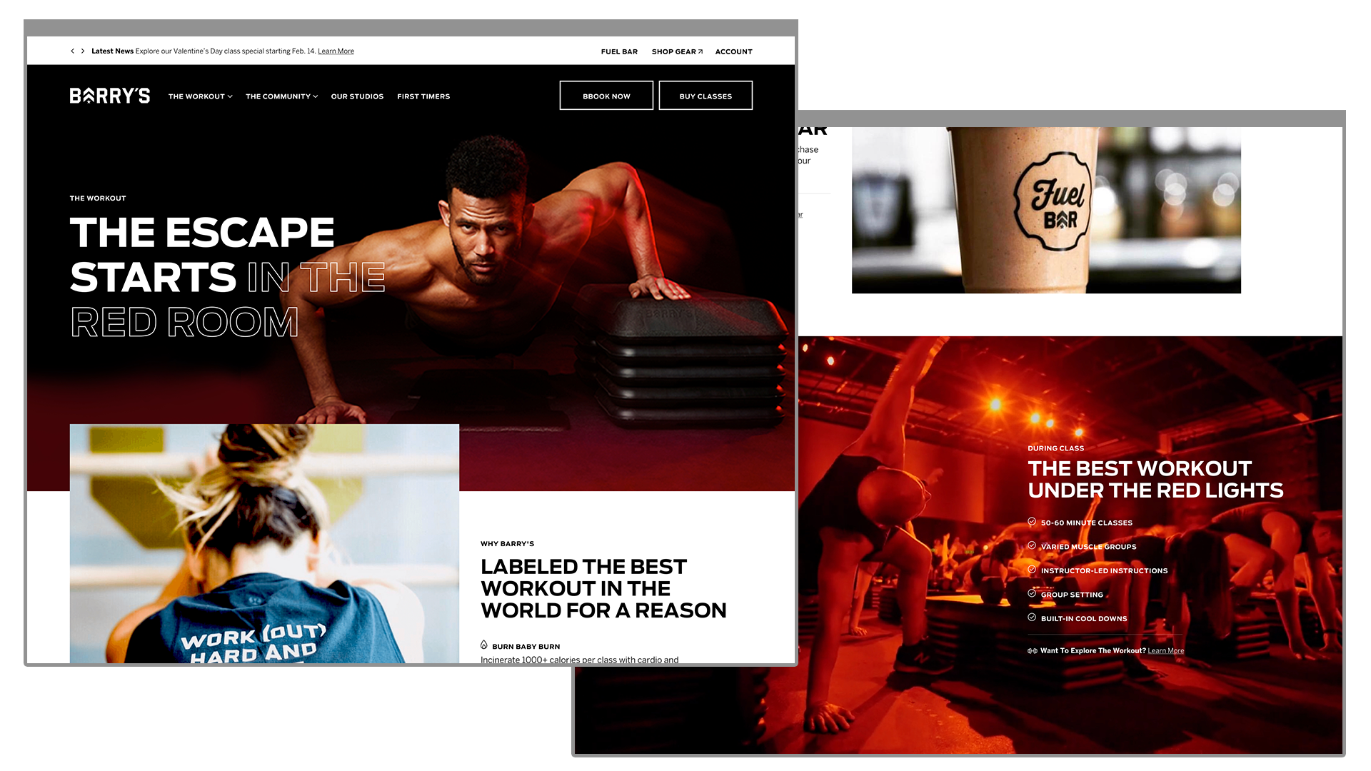 Barry's Bootcamp The Workout and First Timers Page Mockups