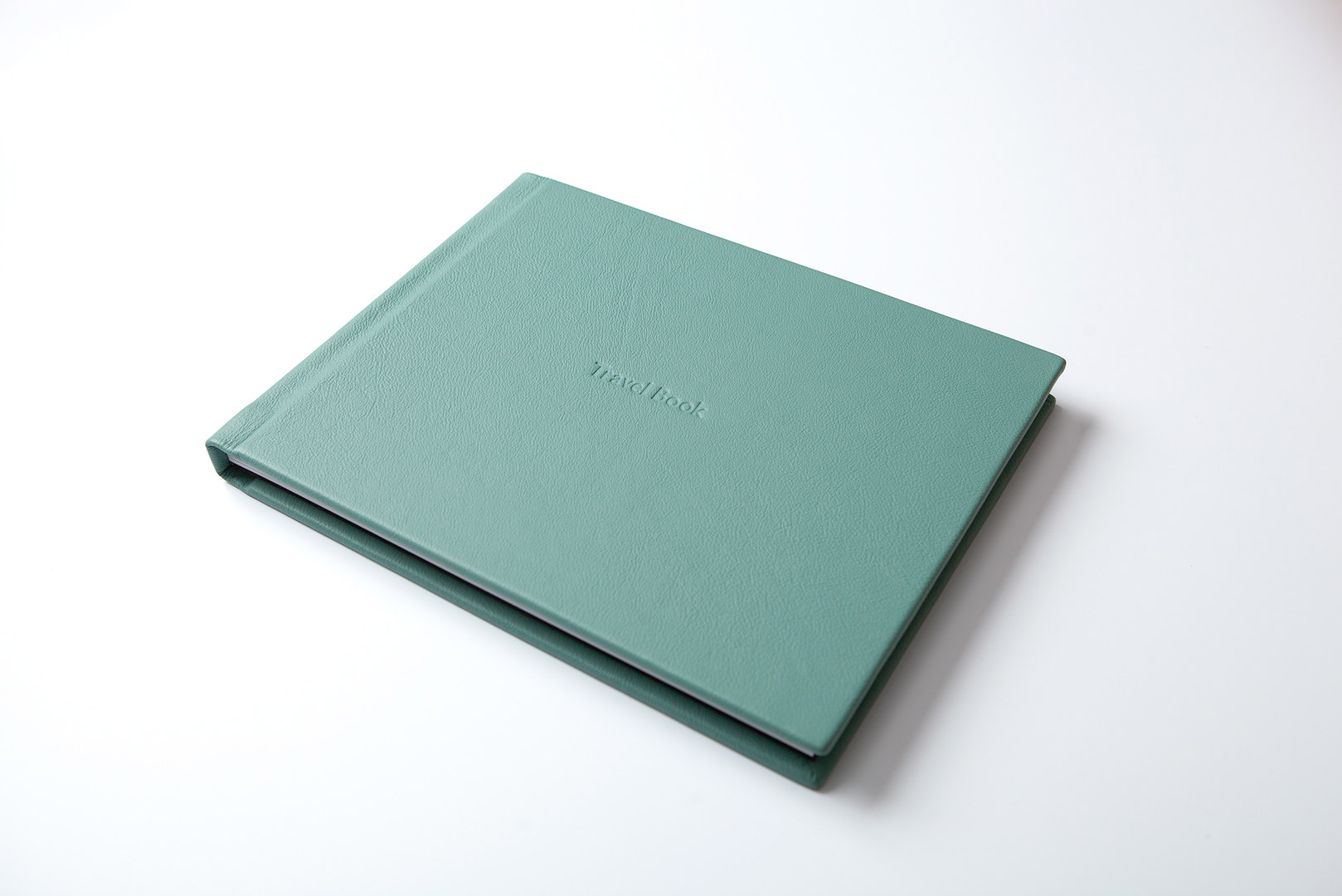 Jade green bull leather cover luxury photo album embossed title