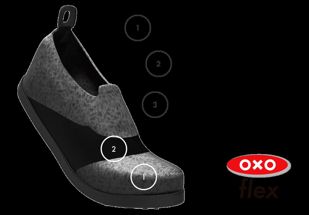 A chart highlighting Oxo flex's waterproof material, nylon band, and sleek design.