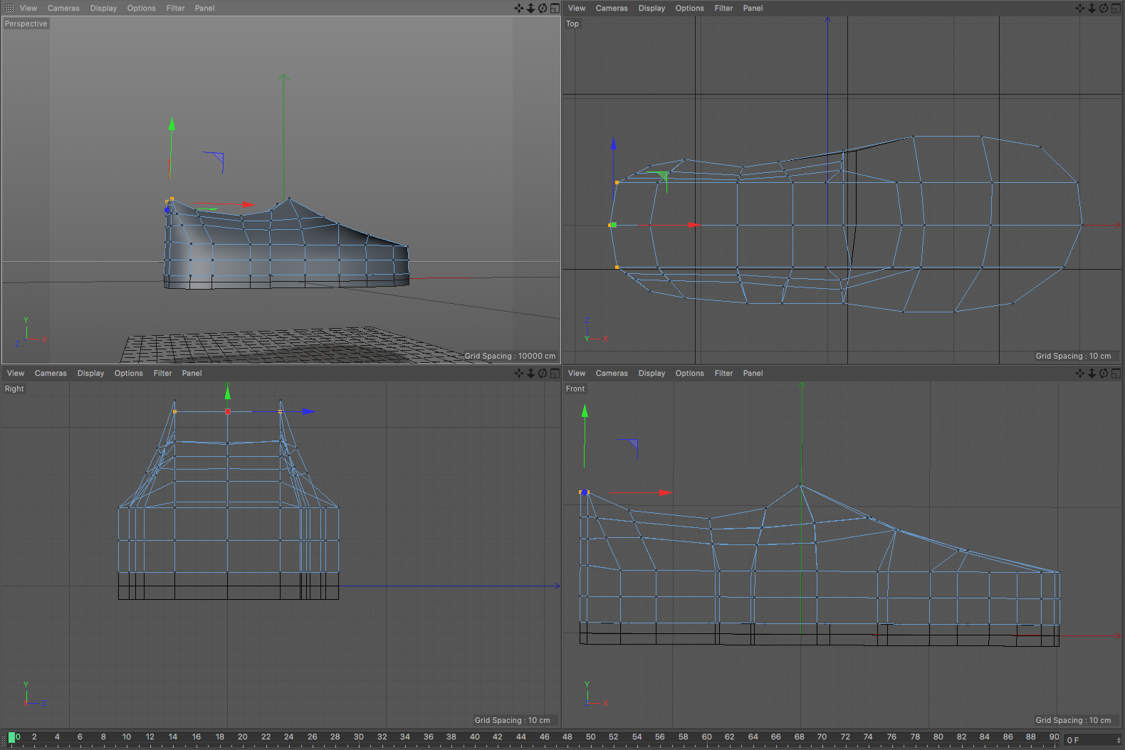 Oxo flex in front, side, and birds eye view in 3D program