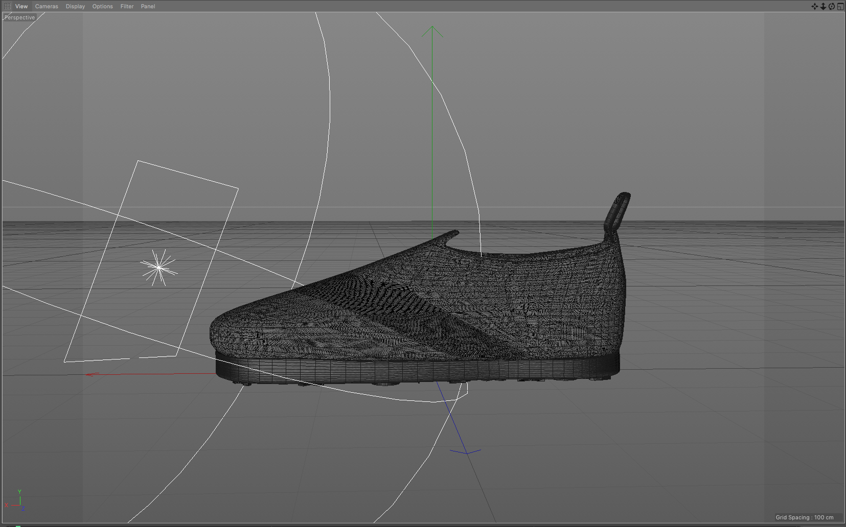 The smooth shoe with 2 textures fabric and nylon elastic