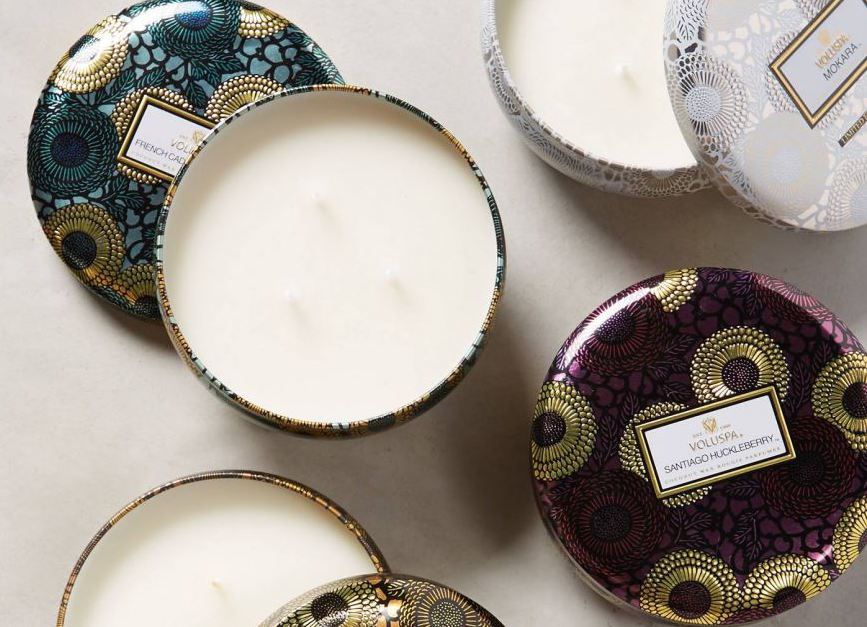 3 Wick Candle in Decorative Tin Mokara