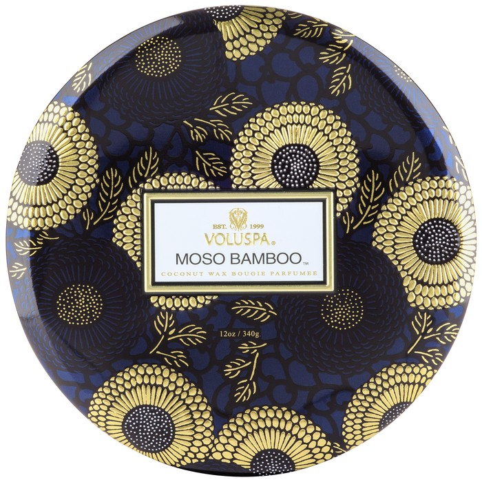 3 Wick Candle in Decorative Tin Moso Bamboo